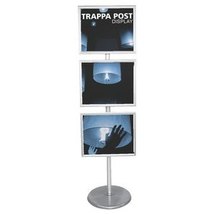 "Trappa Post Stand w/ 3 Horizontal 20"" x 16"" Snap Edge Frames"