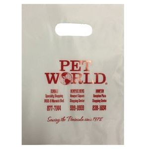 "Die Cut Handle Plastic Bags Frosted 3 Mil. 9"" x 12"""